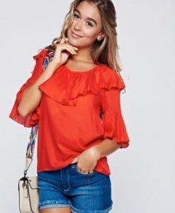 Bluza dama PrettyGirl rosie cu croi larg cu volanase - Bluze -