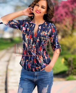 Bluza dama bleumarin cu imprimeu - BLUZE -