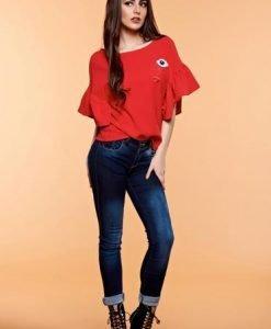 Bluza dama brodata StarShinerS rosie cu maneci tip fluture - Bluze -