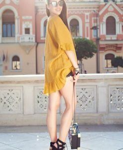Bluza dama casual cu croi larg galbena din material vaporos - Bluze -