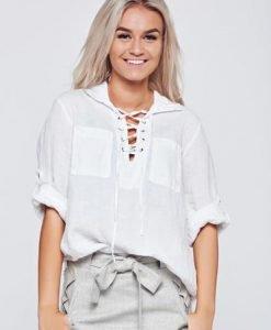 Bluza dama casual din in alba cu croi larg - Bluze -