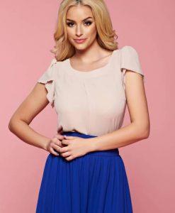 Bluza dama cu croi larg LaDonna crem cu maneci tip fluture - Bluze -