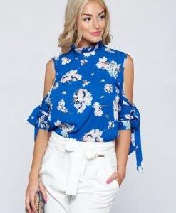 Bluza dama cu croi larg PrettyGirl albastra cu umeri goi - Bluze -