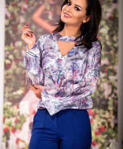 Bluza dama cu imprimeu in nuante albastre - BLUZE -