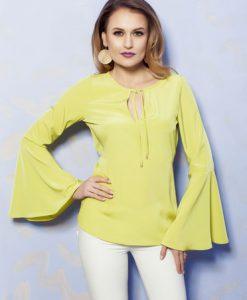 Bluza dama cu maneci clopot PrettyGirl verde-deschis accesorizata cu snur - Bluze -