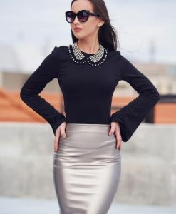 Bluza dama cu maneci clopot StarShinerS neagra - Bluze -