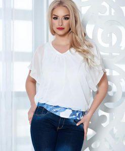 Bluza dama din voal LaDonna cu imprimeu floral alba - Bluze -