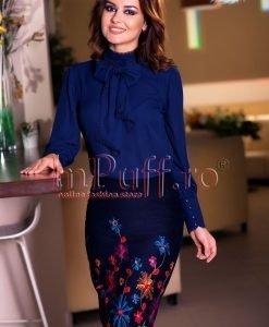 Bluza dama din voal bleumarin - BLUZE -