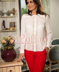 Bluza dama ivoire cu insertii de dantela - BLUZE -