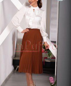 Bluza dama ivoire cu volane - BLUZE -