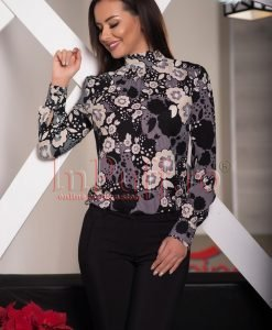 Bluza dama neagra cu imprimeu floral - BLUZE -