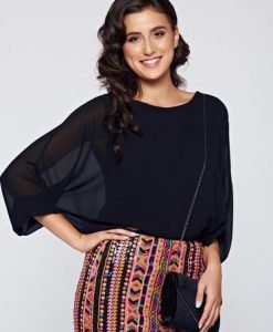 Bluza dama neagra eleganta cu croi larg cu aplicatii de dantela - Bluze -