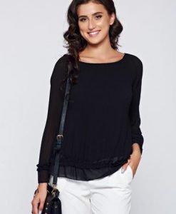 Bluza dama neagra eleganta din material vaporos captusita pe interior - Bluze -