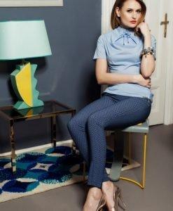 Bluza dama office PrettyGirl albastra-deschis cu maneca scurta - Bluze -