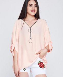 Bluza dama piersica casual cu croi larg din material vaporos - Bluze -