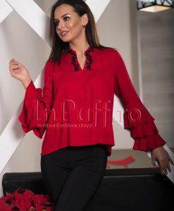 Bluza dama rosie cu guler tunica si broderie neagra - BLUZE -