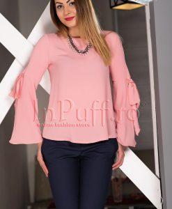 Bluza dama roz pal din voal texturat - BLUZE -