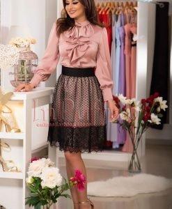 Bluza dama roz prafuit cu volane - BLUZE -
