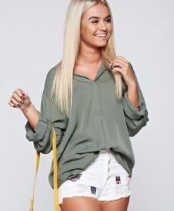 Bluza dama verde-inchis eleganta din material vaporos cu croi larg - Bluze -