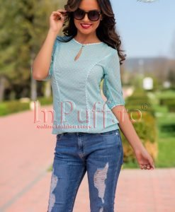 Bluza dama voal turquoise cu buline albe si danteluta - BLUZE -