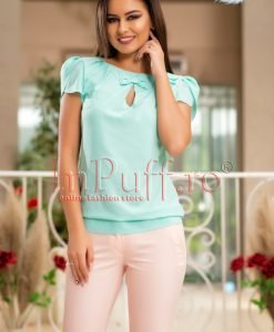 Bluza dama voal turquoise cu funda - BLUZE -