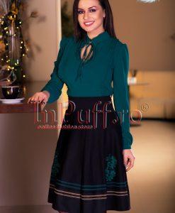 Bluza dama voal verde inchis cu volanase - BLUZE -