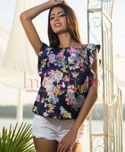 Bluza de vara bleumarin imprimeu floral - BLUZE -