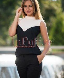 Bluza de vara imprimeu bej-negru - BLUZE -