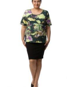 Bluza de zi cu imprimeu multicolor CI2024 - Marimi mari -