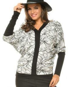 Bluza din bumbac cu imprimeu floral BN44 gri/negru - Outlet -