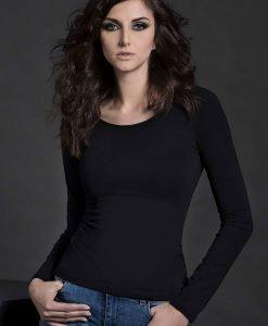 Bluza din bumbac pentru femei cu maneca lunga Nika Black - Haine si accesorii - Tricouri maiouri tunici si pulovere