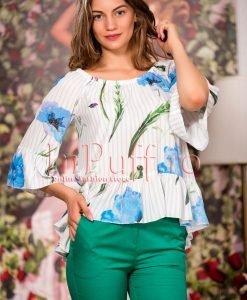 Bluza din voal cu imprimeu floral albastru - BLUZE -