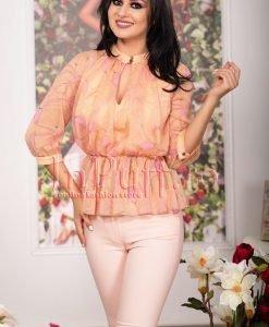 Bluza din voal cu imprimeu roz - BLUZE -