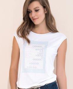 Bluza eleganta dama Scarlet White - Haine si accesorii - Tricouri maiouri tunici si pulovere