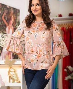 Bluza eleganta roz pudrat cu imprimeu floral - BLUZE -