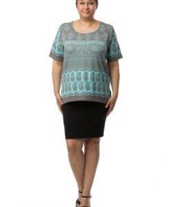 Bluza gri cu imprimeu baroc turcoaz CI2022 - Marimi mari -