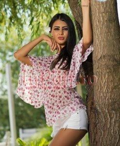 Bluza imprimeu floricele roz - BLUZE -