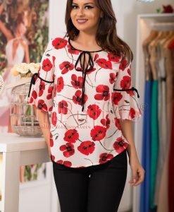 Bluza ivoire cu flori de mac - BLUZE -