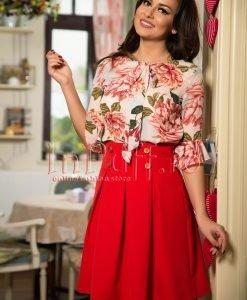 Bluza ivoire cu imprimeu floral roz - BLUZE -