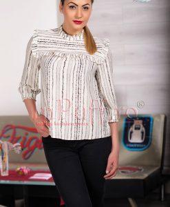 Bluza ivoire cu imprimeu negru - BLUZE -