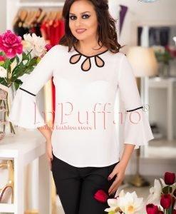 Bluza ivoire cu model negru - BLUZE -