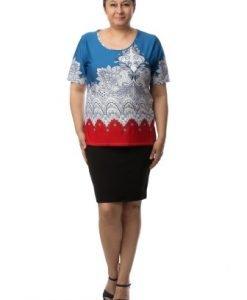 Bluza lejera cu imprimeu modern CI2027 - Marimi mari -