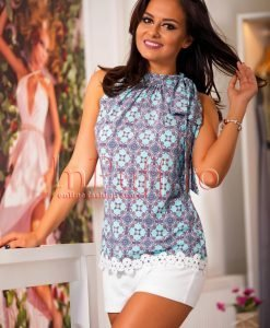 Bluza lejera de vara cu imprimeu colorat si broderie ivoire - BLUZE -