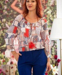 Bluza lejera de vara cu imprimeu colorat si ciucuri la gat - BLUZE -