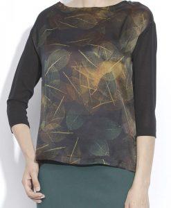Bluza lejera din matase cu print vegetal Imprimat/Maro - Imbracaminte - Imbracaminte / Topuri