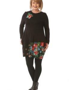 Bluza lunga cu imprimeu floral B071-M negru - Marimi mari -