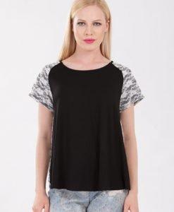 Bluza neagra din jerse si dantela D2120 - Tricouri -