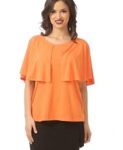 Bluza portocalie cu volan asimetric B077-MP - Marimi mari -