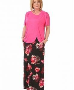 Bluza roz cu decolteu asimetric B094-M - Marimi mari -