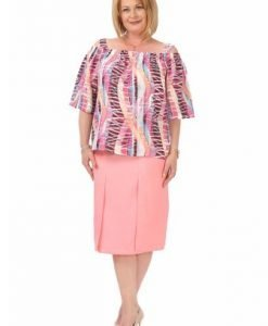 Bluza roz cu umerii goi B101 -M - Marimi mari -